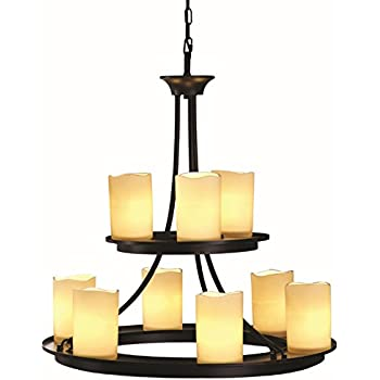Contemporary allen roth 9 light oil rubbed bronze chandelier faux candle modern lighting home for Allen roth bathroom light fixtures bronze