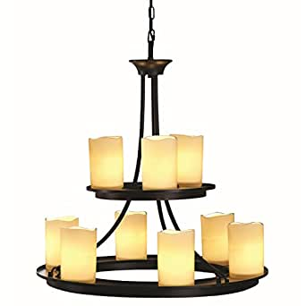 Contemporary allen roth 9 light oil rubbed bronze for Contemporary chandeliers amazon