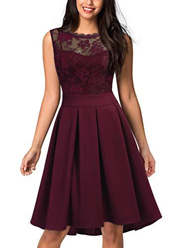 Miusol Women's Vintage Floral Lace Bridesmaid Party Dress (Large, -