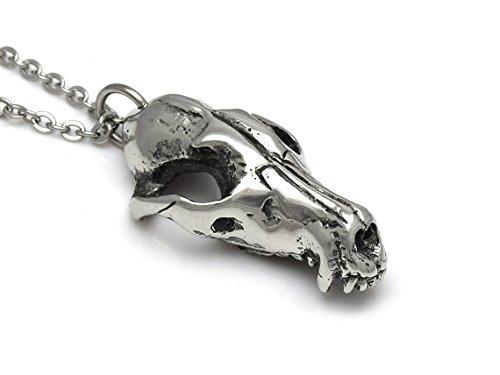 Red Fox Skull Pendant Necklace, Handmade Animal Jewelry in - Handmade Jewelry Animal