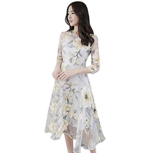Women Casual Mesh Dress Elegant 3/4 Sleeve Midi Dress Layered Bridesmaid Cocktail Dress by Lowprofile Yellow by Lowprofile Dress (Image #5)