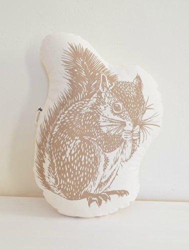 Squirrel Throw Pillow - USA Organic Cotton - Animal Plush - Mocha Brown - Hand-printed Decorative Pillow - Throw Pillow - Woodland Decor - Handmade Cushion - Eco-Friendly