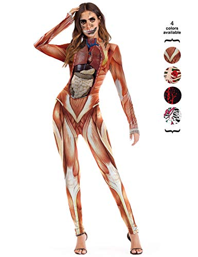 Amiliashp Halloween Costume Bodysuit Skeleton Bone 3D Print Long Sleeve Cosplay Jumpsuit Overall Catsuit Unitard Tights Women for $<!--$22.99-->