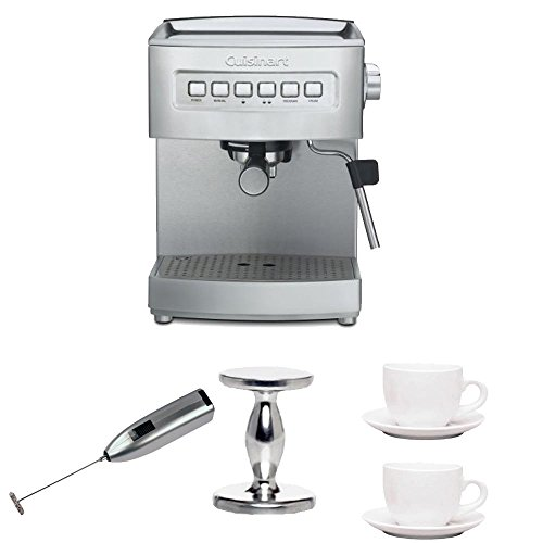 Cuisinart EM-200FR Stainless Steel Programmable 15-Bar Espresso Maker + Handheld Milk Frother + Handheld Tamper + (2) 3 oz Ceramic Tiara Espresso Cup and Saucer