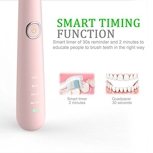 Sonic Electric Toothbrush, Rechargeable Toothbrush, Adult Electric Toothbrush with Holder and 2 Replacement Heads, (4 Modes with Automatic Timer, IPX7 Waterproof, Fast Charging), Pink