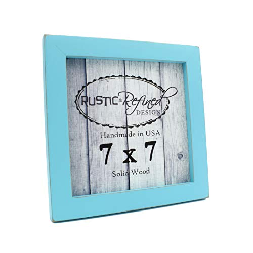 Rustic and Refined Design 7x7 Solid Wood Made in USA Picture Frame with 1 Inch Border (Gallery Collection) - Turquoise