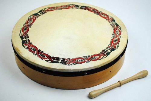 Original 16 Inch Irish Bodhran with Celtic Design and Rosewood Beater