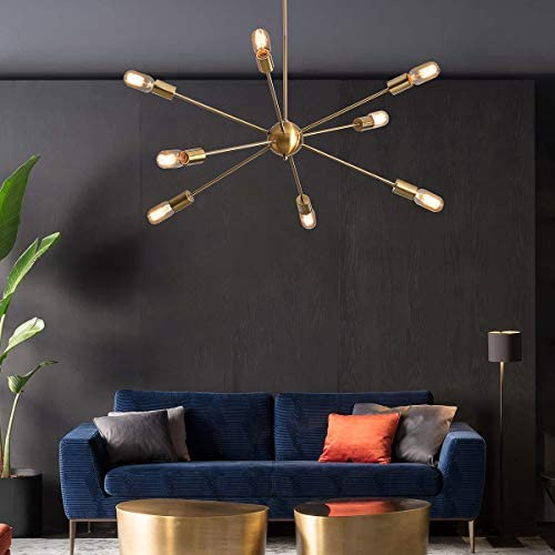 KDG Chandeliers 8-Lights Modern Sputnik Mid Century Pendant Lighting Gold Brass Ceiling Light Fixture for Kitchen Dining Room Living Room Gold 8Lights