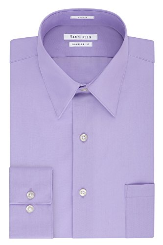 Van Heusen Men's Poplin Regular Fit Solid Point Collar Dress Shirt, Lavender, 16