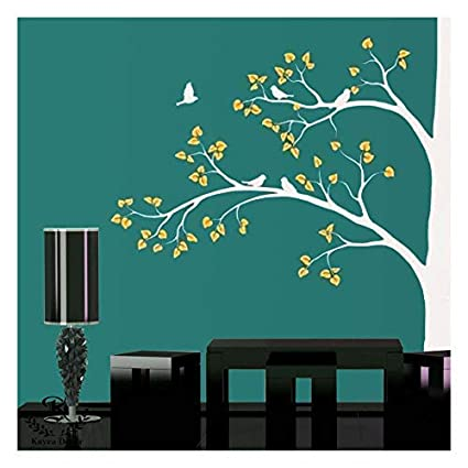 Kayra Decor Reusable Wall Birds On The Tree Stencil For Wall Decor Diy Painting Stencil In Plastic Sheet Multi Coloured 92 X 72 Inch