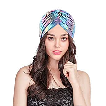 C.C-US Holographic Satin Turban Muslim Hat Pleated Stretchy Sleep Chemo Cap Headwear for Hair Loss - Blue - one Size