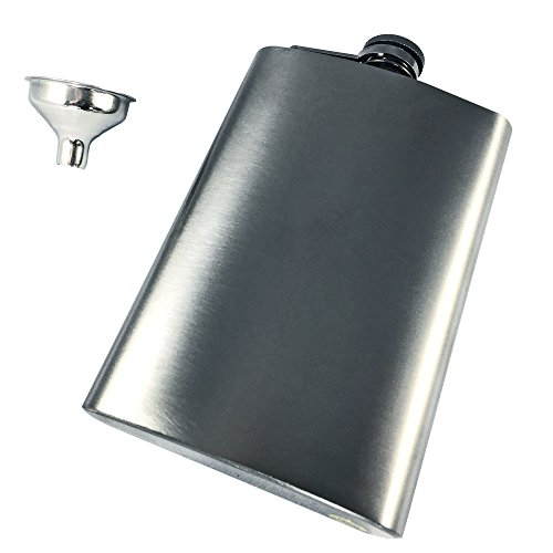 Hip Flask, Gunmetal Gray - Devil Joe's 8oz Sippin' Flask - 8 Ounce Whiskey Drinking Flask, Premium Quality Stainless Steel with Captive Cap - Perfect Gift for Birthdays, Weddings, and Anniversaries