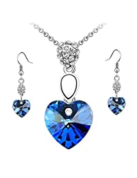 Coromose Girl Women Rhinestone Crystal Necklace Earring Jewelry Set (Blue)