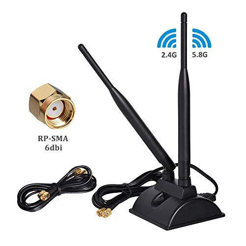6dBi WiFi Antenna with RP-SMA Male Connector, 2.4GHz 5GHz Dual Band Wireless Antenna with Magnetic Base for PCI-E WiFi Network Card,WiFi Wireless Router, Mobile Hotspot (Antenna Wifi For Pc)