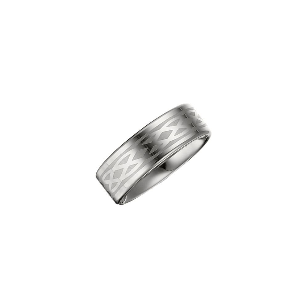 Security Jewelers Tungsten 8.3mm Lasered Design Flat Band Size 9 Ring Size 9