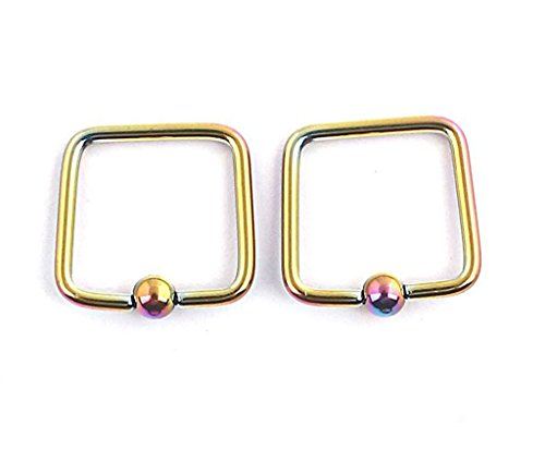 (BYO 1 Pair 16G 316L Surgical Steel 4mm Captive Bead Rings Nose Belly Eyebrow Tragus Lip Ear Nipple Hoop Square)