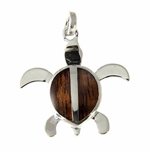 Koa Wood Hawaiian Honu Sea Turtle Rhodium Silver Plated Brass Pendant Charm