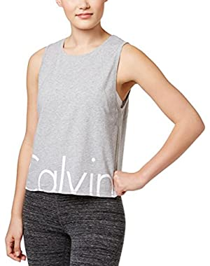 Performance Cropped Logo Vent Back Tank Top (Pearl Grey Heather, XX-Large)