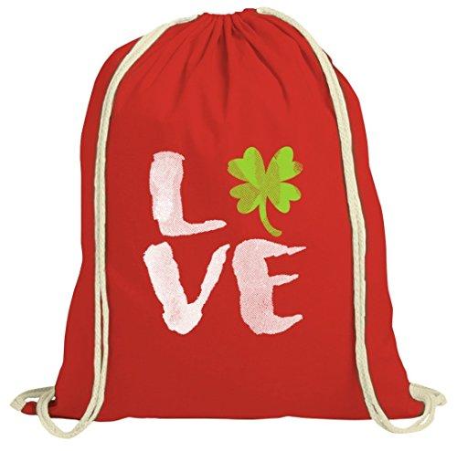 Saint Patrick´s Day St. Patricks Day natur Rucksack Turnbeutel Love St. Patricks Day Rot Natur