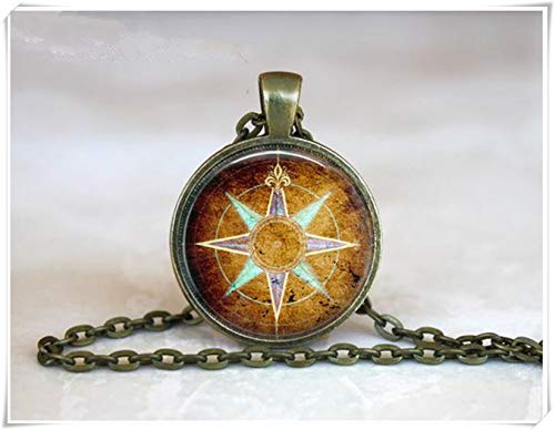 Northstar Explorer (we are Forever family Compass Rose Pendant , Vintage Compass Necklace,Traveller Necklace, Adventure Necklace)
