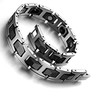 Men Tungsten Bracelet with Magnetic Energy Stone - Silver and Black