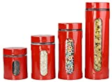 Home Basics 4-Piece Glass Canister Cylinder Set with Clear Window, Red by Home Basics