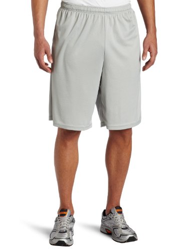 Soffe Men's Extra Long Poly Closed Hole Mesh Short Silver XX-Large - Poly Workout Short