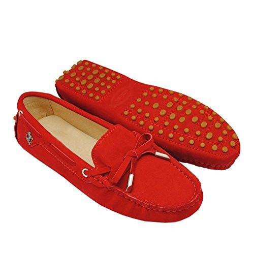 Minishion Meisjes Dames Nubuck Leren Slip-on Mode Casual Mocassins Flats Loafers Rijden Schoenen Rood-suède Leer