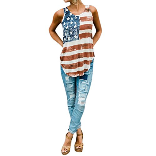 2a5e1c4768c Fiaya Patriotic 4th of July Women American Flag Vintage Loose Sleeveless T-Shirt  Tank Tops Plus Size. Published June 25