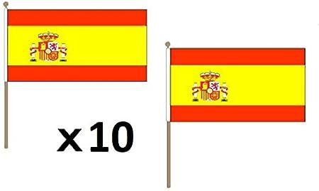 AZ FLAG Bandera España 45 x 30 cm Hampe en Madera – Juego de 10 Banderas de España 30 x 45 cm: Amazon.es: Hogar