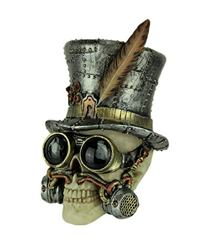 Everspring Steampunk Skull Gentleman in Tall Hat and Goggles Statue ()