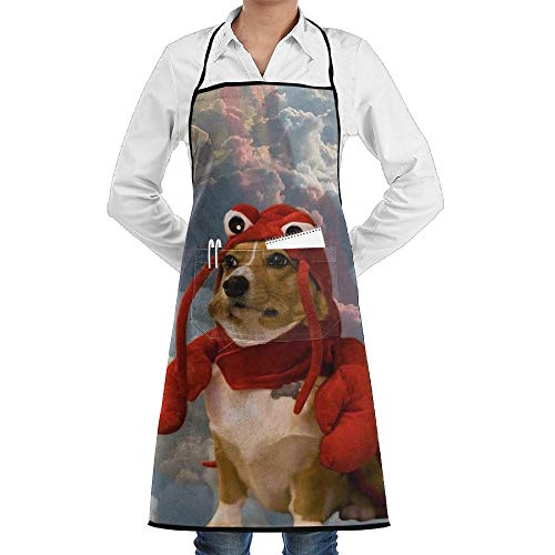 Dog in Lobster Costume Meme Kitchen Chef Apron for Women and Men Home Cooking Bib Apron Tabard with 2 -