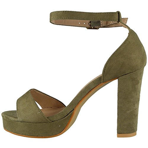 Shoes High Party Loud Size Look Green 8 Bar Heel Ladies Womens Studded Faux T Suede Sandals 3 Buckle qzOqxwdPr