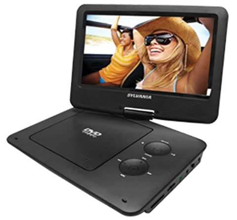 Sylvania 9-Inch Swivel Screen Portable DVD/CD/MP3 Player with 5 Hour Built-In Rechargeable Battery, USB/SD Card Reader, AC/DC Adapter
