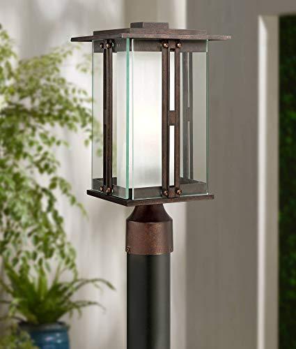 (Fallbrook Collection Modern Outdoor Post Light Fixture Bronze 15 3/4