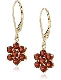 10k Yellow Gold Flower Leverback Dangle Earrings