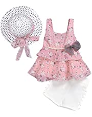 PRETYZOOM Girl Summer Clothes Beach Sun Hat with Bowknot Flower Printed Chiffon Ruffle Sleeveless Top Dress Pom Pom Shorts for Toddler Kids Baby Outdoor Protection