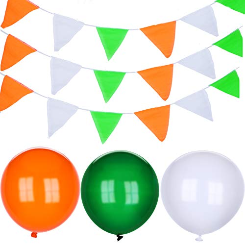 Blulu St. Patrick's Day Decoration Set, Include 3 Pieces Irish Bunting Banner Pennant Decoration and 30 Pieces White Orange Green Latex Balloons for St. Patrick's Day Party Decoration]()