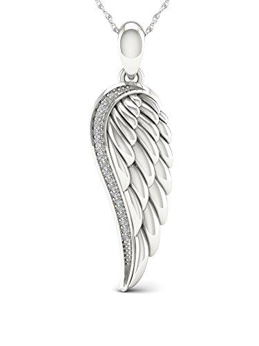 De Couer 10K White Gold 1/20ct TDW Diamond Angel Wing Necklace (I-J, ()