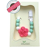 2 in 1 Pacifier Clip - Teething Baby Silicone Beads with Unique Shapes - Girl...