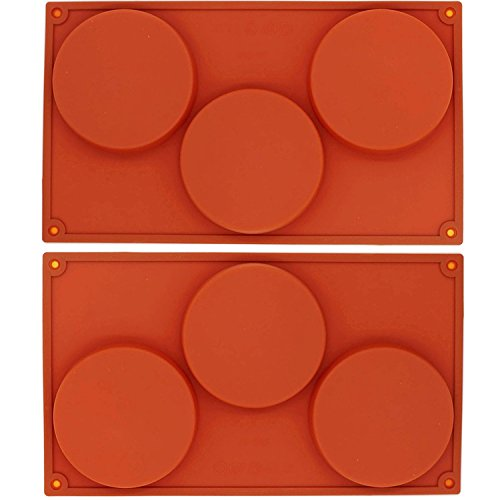 (OBUY 3-Cavity Large Round Silicone Disc Cake, Pie, Custard, Tart and Resin Coaster Mold(2Pack))