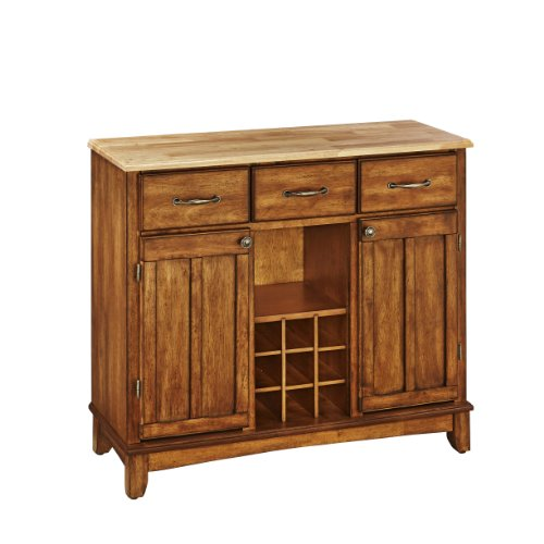 Home Styles 5100 0061 Natural Wood Top Buffet Server, Cottage Oak Finish,  41 3/4 Inch