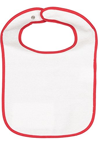 (Rabbit Skins Infant 100% Cotton Terry Contrast Trim Snap Bib (Red, One Size Fits All))