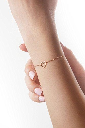 Rose Gold Heart Bracelet, 9K, 14K, 18K Gold, Gold Heart Charm, Gold Gift For Her, Romantic Love Gift (9 Ct Heart)