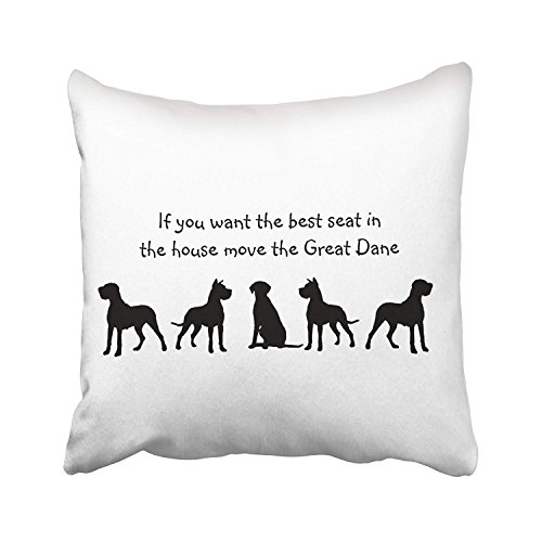 - Accrocn Throw Pillow Covers Black And White Great Dane Humor Best Seat In House Dog Silhouette Cushion Decorative Pillowcases Polyester 20 x 20 Inch Square Pillowcase Hidden Zipper