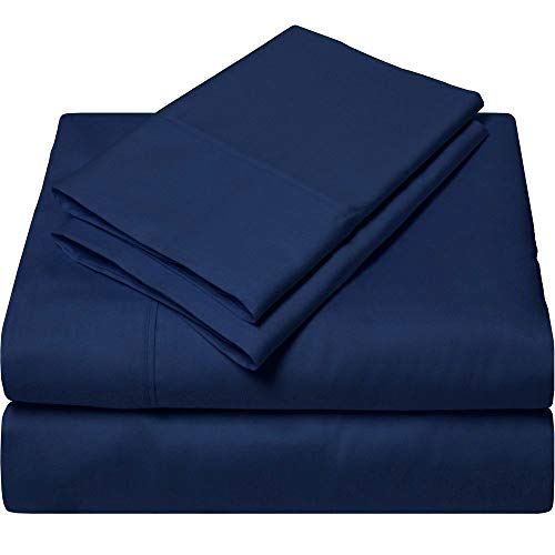 King Size Egyptian Cotton Sheets Luxury Soft 1000 Thread Count- Sheet Set for King Mattress Navy Blue Solid
