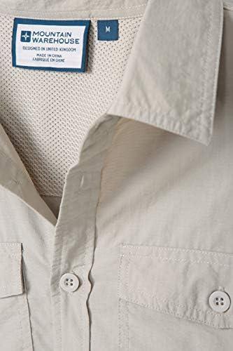 Mountain Warehouse Navigator Camisa Convertible antimosquitos para Hombre - Ligera, de Verano, Transpirable, Cuidado fácil - Ideal para Festivales, Playa, Vacaciones Beige S: Amazon.es: Ropa y accesorios