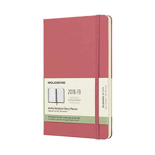 Moleskine 2018-2019 18M Weekly Notebook, Large, Weekly Notebook, Pink Daisy, Hard Cover (5 x 8.25) Large Weekly Notebook