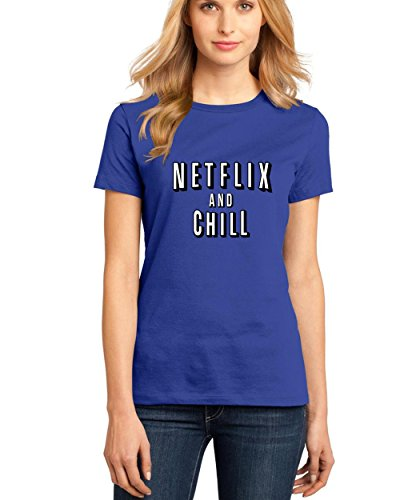 T-Shirts for Women Netflix and Chill Funny Women's Round Neck Tee Shirts(Blue,Small) -