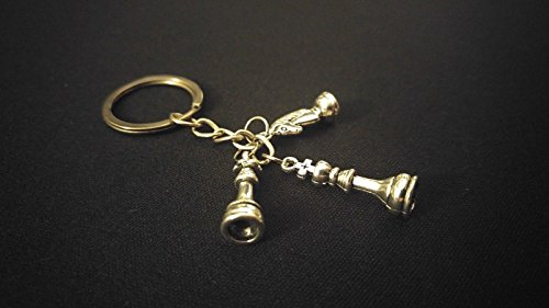 (CHESS MASTER KING QUEEN KNIGHT HOBBY Silver Metal Charm Keychain Key Unique Gift)